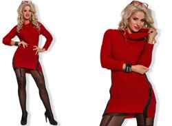 Red/Wine Long Jumper Tunic Dress - One size