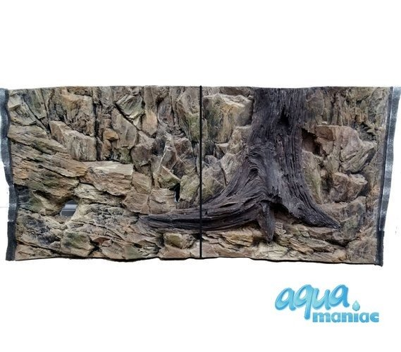 3D Rock Root Background 88x56cm in 2 section to fit 3 foot by 2 foot tanks