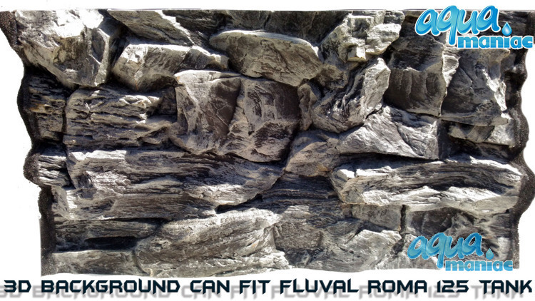 Fluval Roma 125 grey rock background 77x42cm 1 section