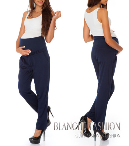 Pregnancy Maternity Stretchy Jersey Pants for Pregnant Mums Navy Blue