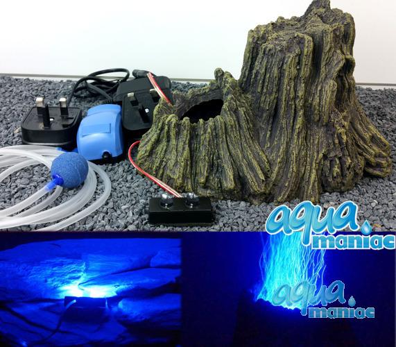 Tree Stump Volcano with illuminated blue bubbles