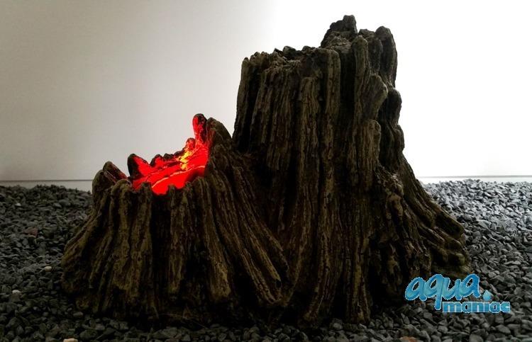 Tree Stump Volcano with illuminated red bubbles