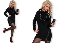 Black Long Jumper Tunic Dress - One size