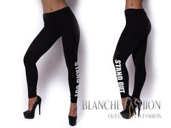 "Leggings with print on leg ""Stand out"" Sporty Girl Black"